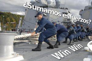 Grupo de marineros tirando juntos de una cuerda sobre el texto: ¿Sumamos esfuerzos? Win-win