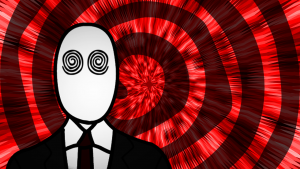 Imagen de un hipnotizador con sus ojos con espirales y una espiral más grande al fondo.