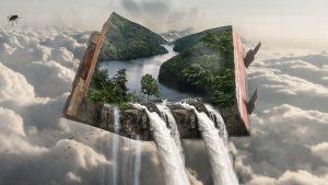 Imagen fantasiosa de un libro con un paisaje real flotando entre las nubes