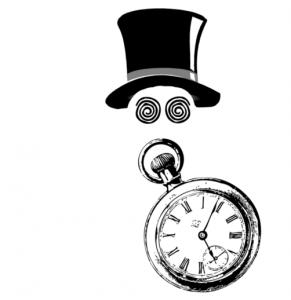 Imagen clásica de la hipnosis de espectáculo: un sombrero, ojos con espirales y un reloj de bolsillo.