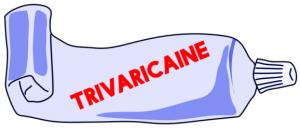 """Tubo de crema con el texto """"trivaricaine"""""""