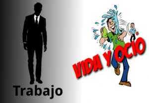"""Un hombre vestido de traje sobre la palabra """"trabajo"""" y a la derecha dos personas tirándose globos de agua jugando"""