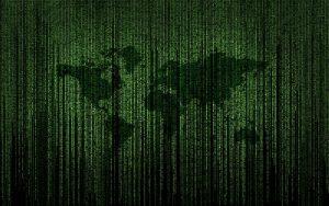 Líneas verdes de código de ordenador como en la película Matrix, formando el mapa del mundo.