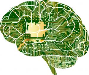 Representación de un cerebro como si fuera un circuito de ordenador