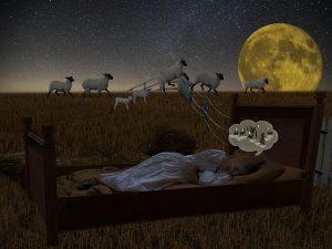 Dibujo de una persona durmiendo contando ovejitas.