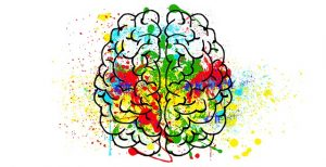 Dibujo de un cerebro con muchos colores representando los sueños.