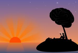 Escena onírica que representa a una persona leyendo en una isla bajo un árbol con forma de cerebro