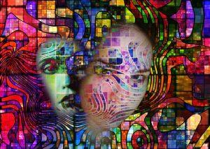 Representación psicodélica de hablar solo consigo mismo